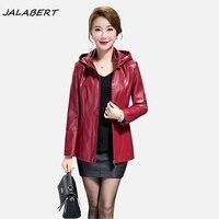2017 NUOVE Donne autunno inverno con cappuccio solid zipper giacca corta per le donne femminile cappotto di pelle nera vino rosso grande sizepocket sottile