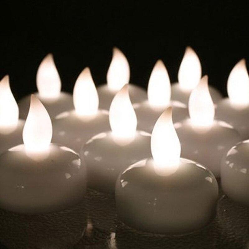 1 шт., Креативный светодиодный светильник для чая с датчиком воды, Электронный светильник для бездымного мерцания свечей, лучший подарок, лампа для свечей - Цвет: Белый