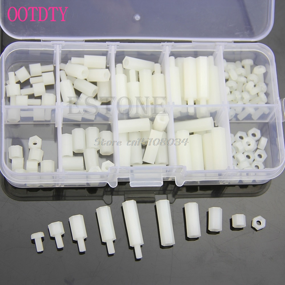 M3 Nylon Hex Spacers Screw Nut Assortment Kit Stand Off Plastic Accessories Set S08 Wholesale&DropShip