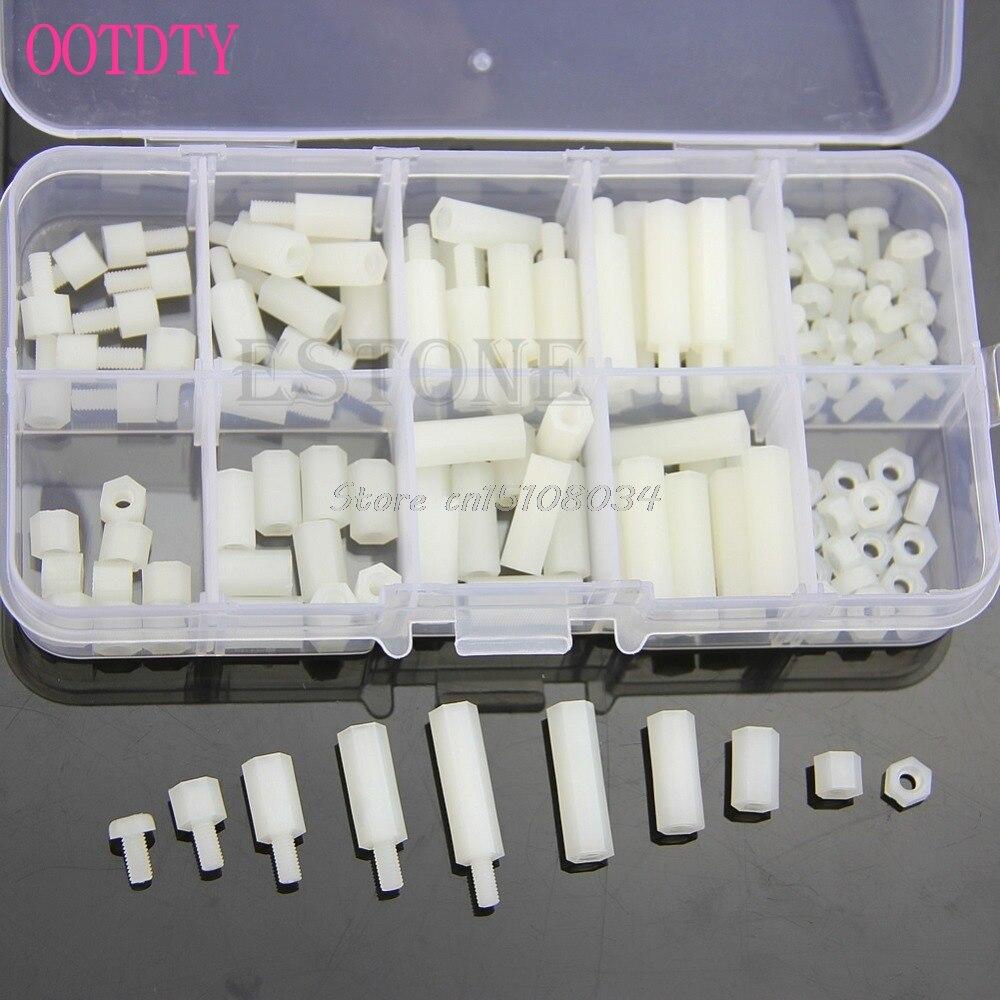 M3 Nylon Hex Spacers Screw Nut Assortment Kit Stand off Plastic Accessories Set S08 Wholesale&DropShip