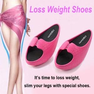 Image 2 - Femmes Fitness perte de poids Massage pantoufles femme négatif talon Stovepipe Toning chaussures baskets glisser cales plate forme Swing chaussures