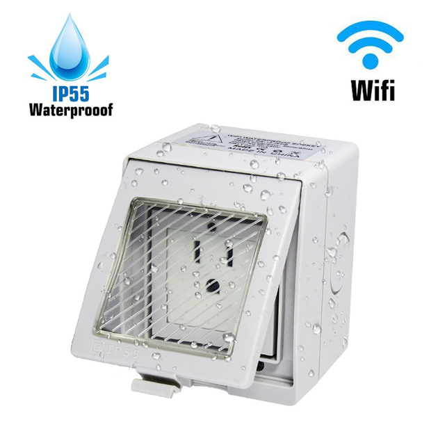 Outdoor Outlet Eu Us Uk Wireless Smart Wifi Plug Socket Switch Ip55 Waterproof Remote Control Timer Compatible With Alexa