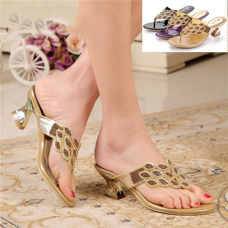 161cfb97ec2f69 ... flats Shoes 2016 Summer Rhinestone Slippers · New Summer Women s Casual Flip  Flops Slippers New Clip Toe Bohemian Fashion Platform Chunky High Heel