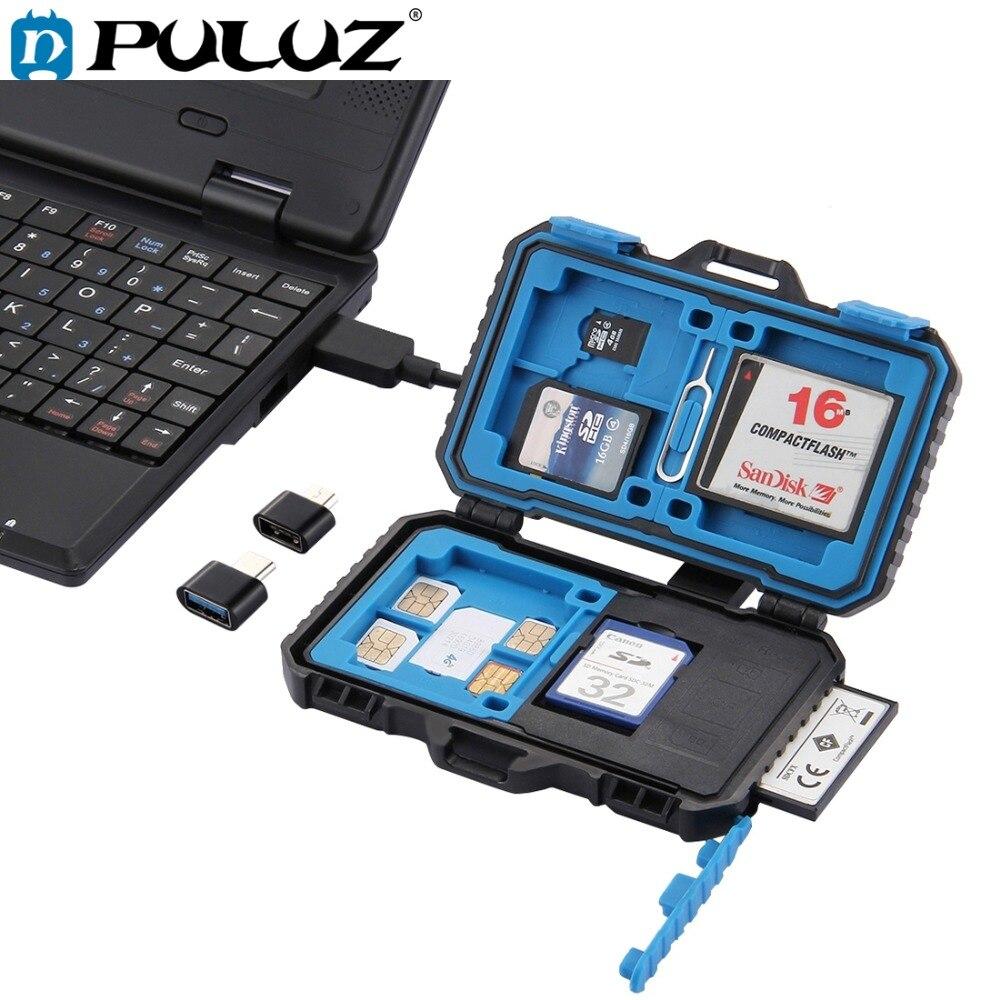 Lector de tarjetas PULUZ + memoria resistente al agua 22 en 1 caja de almacenamiento de tarjeta SD para 1 SIM estándar + 2 micro-sim + 2Nano-SIM + 7SD + 6TF + 1 PIN de tarjeta