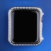 Iced Out Apple Watch Case Cover Iwatch Case 40mm/44mm White Gold/Gold for Series 4 with CZ Protective Cover for Women Men