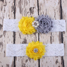 2PCS/Set Mum baby Bow Lace Elastic Rhinestone pearl ornament yellow flower gray flower Headband Hairband Accessories(China)
