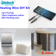 Glotech Coil Jig+20m 0.3mm Heating wire+10pcs Japanese Cotton Rebuildable DIY Tool Kit For Electronic cigarette RBA RDA Atomizer