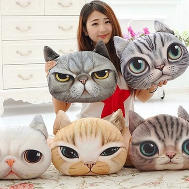 CHIZIYO Creative Car Pillowcase Cool 3D Dog Cat Face Seat Covers Waist Rest Cushion Car Seat Cushion Cover Without Filler