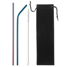 Eco-Friendly Reusable Straw Stainless Steel Straws Drinking High Quality Metal with Cleaner Brush & Bag Wholesale Hot Sale
