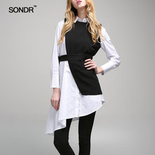 SONDR Asymmetrical Womens Suit Long Sleeve Shirt Dress Irregular Vest Tops Female Casual Two Piece Sets 2019 New