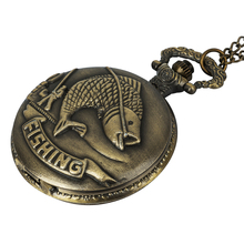 Classical Bronze Fishing Angling Cute Fish Retro Quartz Pocket Watch Gifts for Men Women Vintage Fob Chain Necklace цена