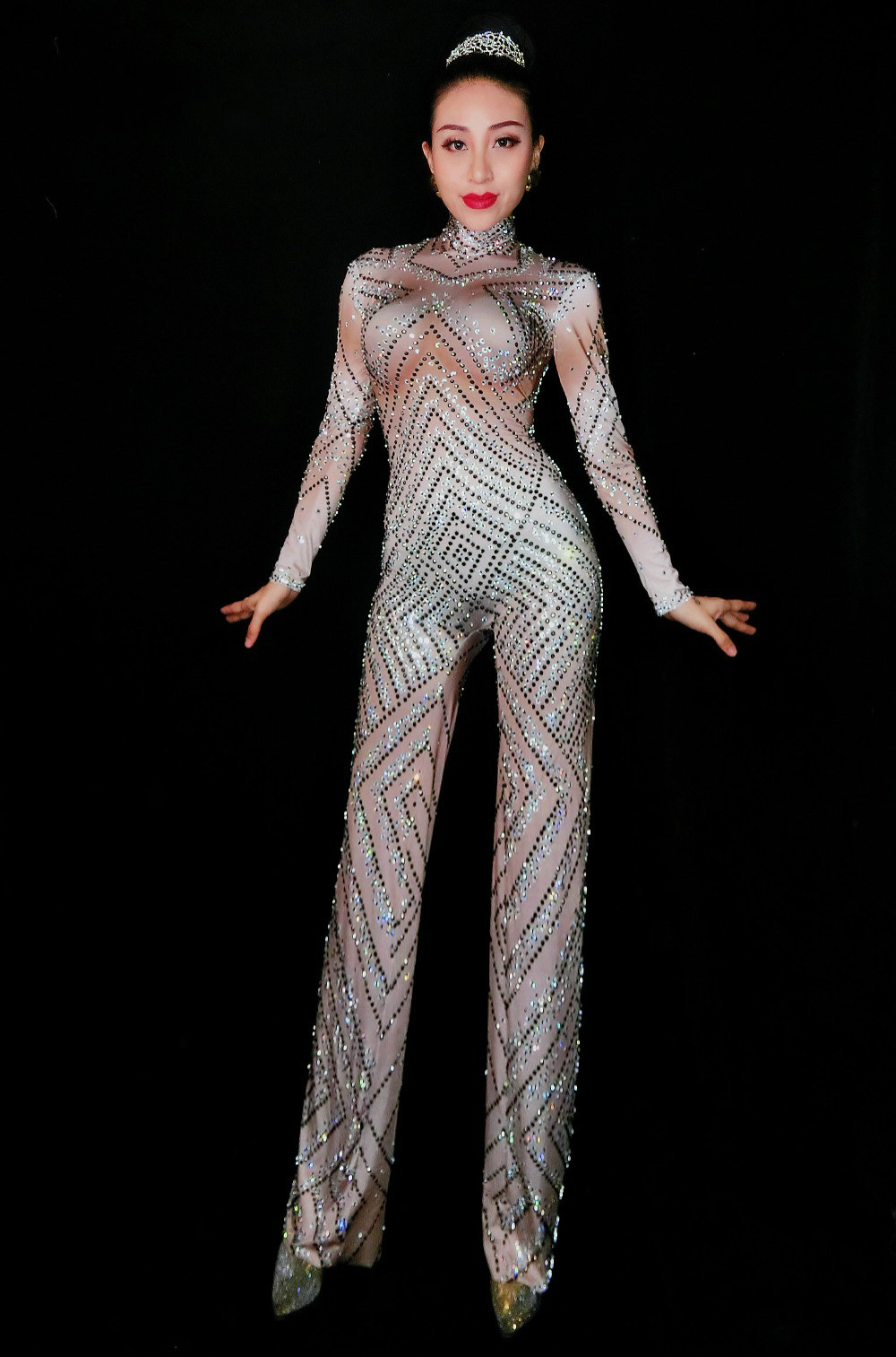 Womens Sparkly Crystals Nude Jumpsuit Stretch Stones Outfit Celebrate  Bright Rhinestones Bodysuit Female Singer Birthday Costume daca160b3
