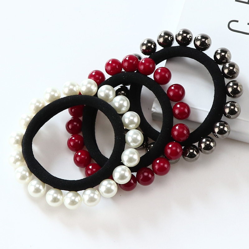 Women Hair Accessories Elastic Hair Bands with Multi Beads Ponytail Ornaments Braid