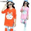 Conjunto de roupas meninas primavera outono shirt + calças roupas conjuntos para a menina crianças terno do esporte