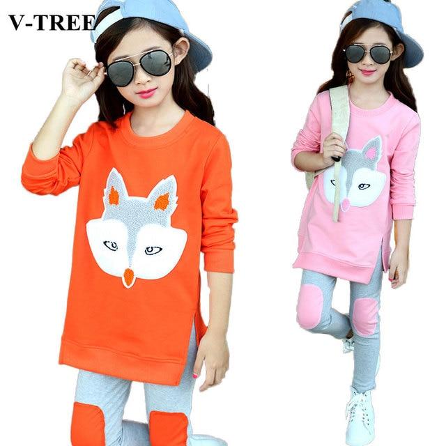 Girls clothing set spring autumn shirt+pants clothes sets for girl children sport suit