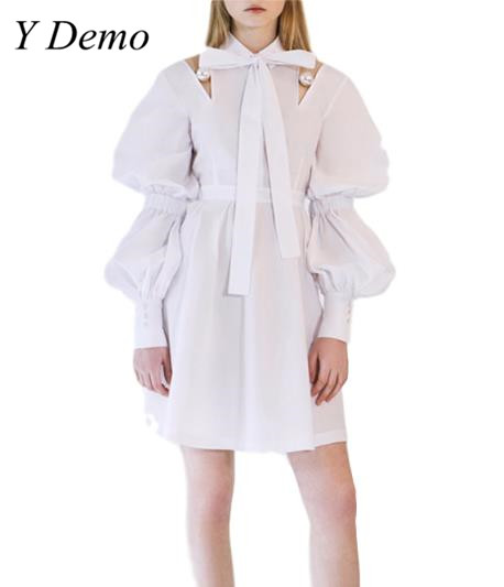 2018 Elegant Sweet Pearl Hollow Out Womens Dress White Bow Collar Shirt Dresses