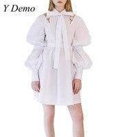 2018 Elegante Pérola Doce Escavar Vestidos de Vestido Branco Arco Colarinho Da Camisa das Mulheres