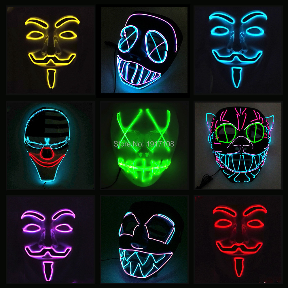 10 COULEUR Option Vendetta EL fil Masque Clignotant Cosplay LED MASQUE Costume Masque Anonyme pour Glowing dance Carnival Party Masques