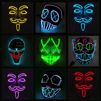 10 COLOR Option Vendetta EL wire Mask Flashing Cosplay LED MASK Costume Anonymous Mask for Glowing dance Carnival Party Masks Honda CBR250R