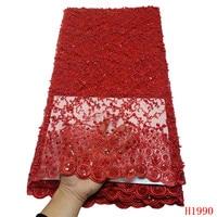5 ярдов высокого качества с тяжелой ручной сеткой тюль сетка кружева красный Французский кружевная ткань со стразами для свадебного платья