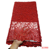 5 yards high quality with Heavy manual net tulle mesh lace red french sequins lace fabrics for wedding dress HJ1990 1