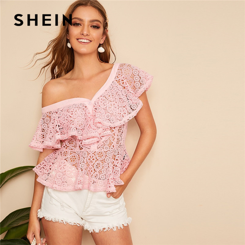SHEIN Pink Asymmetrical Neck Guipure Lace Blouse Ladies Top Summer Sexy Solid Sheer Ruffle Trim Peplum Womens Tops And Blouses