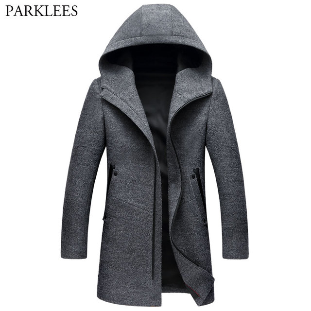 7d687972d6a Long Hooded Trench Coat Men 2018 Brand New Winter Men s Cashmere Hoodie  Jacket Warm Zipper Slim Windbreaker Woolen Pea Coat Gray