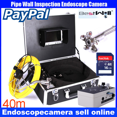 40m DVR Pipe Wall Sewer Inspection Camera System,Industrial Pipe Car Video Inspection Endoscope Camera dhl free wp90 50m industrial pipeline endoscope 6 5 17 23mm snake video camera 9 lcd sewer drain pipe inspection camera system