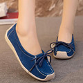 High quality brand Women Shoes Scrub leather Flat with casual shoes new fall dark blue, wine red mom shoes Moccasins Loafers