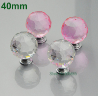 40mm Modern K9 Crystal Glass Diamond Furniture Handle Hardware Drawer Wardrobe Kitchen Cabinets Cupboard Dresser Door