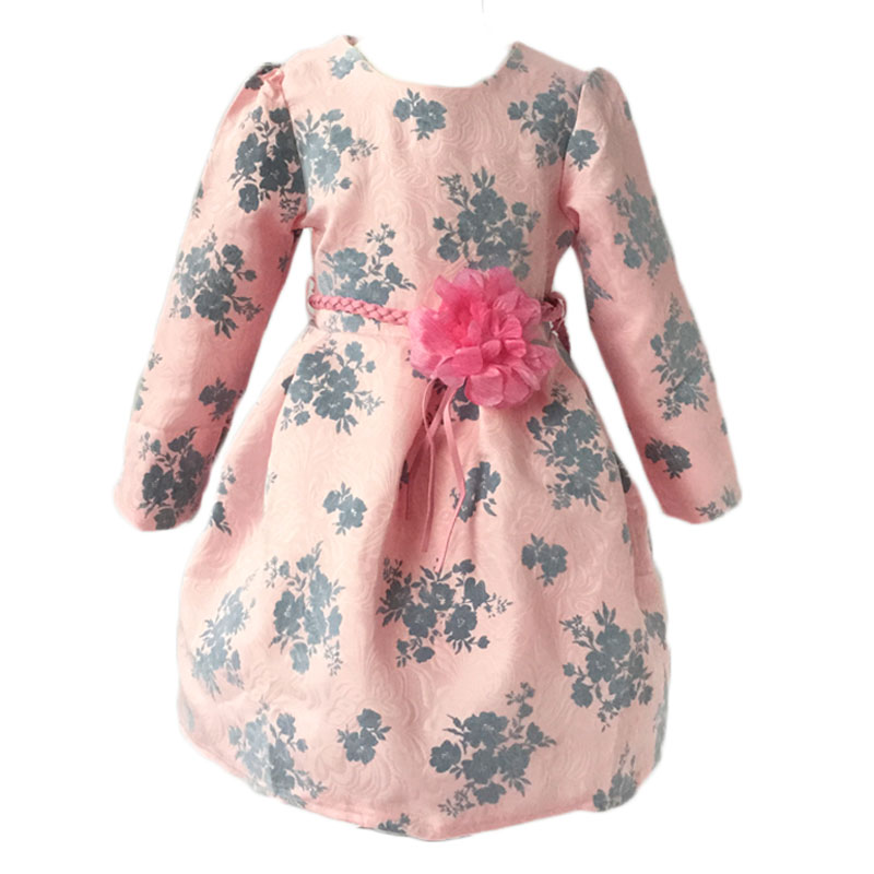 New Arrival Girl Print Dress and Flower Belt 2 Pieces Princess Dress Brand of High Quality