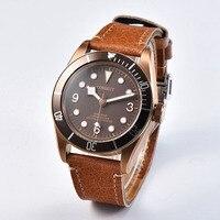 Corgeut 41 мм мужские часы, латунь PVD покрытием чехол SS Кофе циферблат механические часы Miyota 8215 двигаться не часы CA2010BZ