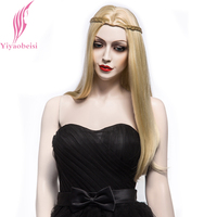Yiyaobess 22inch Synthetic Princess Middle Part Long Blonde Wig With Braiding Hair Straight Wigs For Women