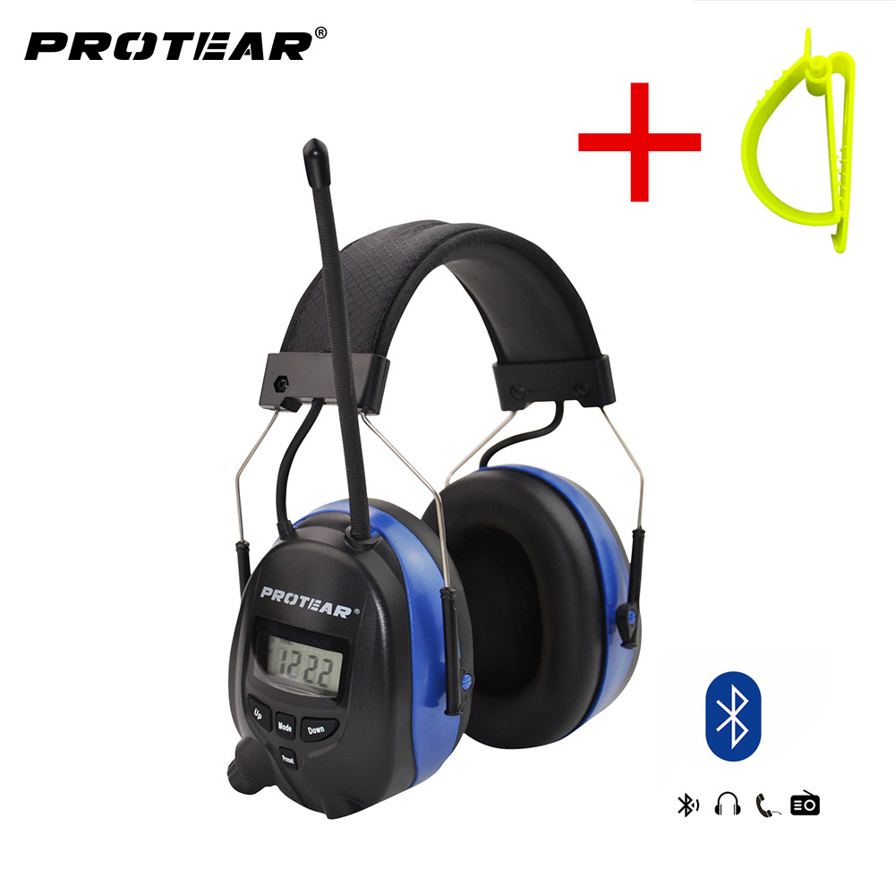 Protear Bluetooth FM AM Radio Electronic Ear muffs Built in Microphone Ear Defenders Hearing Protector with
