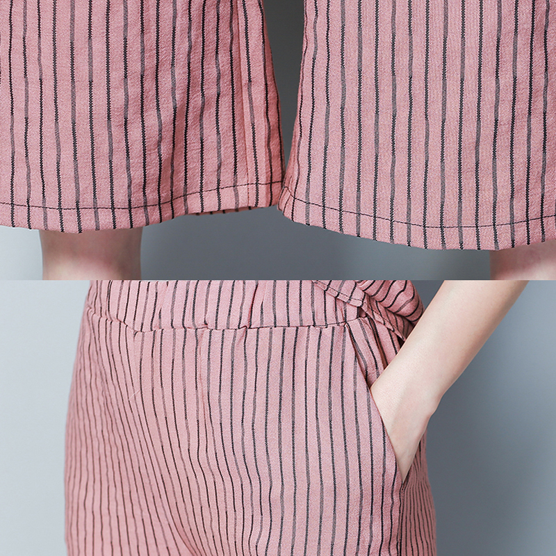 Striped Co ord Set Pink Outfits Set Tracksuits for Women Plus Size Large Xxxl 4xl 5xl Top and Pants Suits 2019 Summer Clothing in Women 39 s Sets from Women 39 s Clothing
