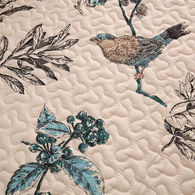 Peachy Vintage Birds Pattern Cotton Quilted Sofa Cover For Corner Machost Co Dining Chair Design Ideas Machostcouk