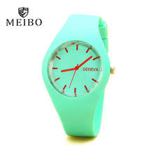 MEIBO Fashion Brand Women's Watches Colored Candy Watches for women Silicone Strap Jelly Men's Sports Watch relogio feminino