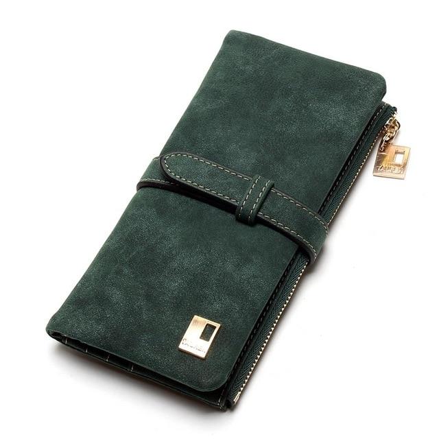 Теперь еще дешевле! Новые модные женские кошельки, кошелек из нубука на молнии, Женский Длинный дизайнерский кошелек, два сложения, много цветов, клатч - Цвет: Army Green