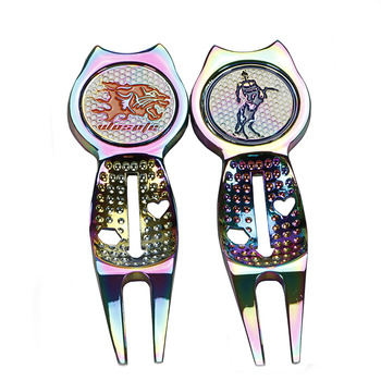 Dazzle color golf Putting green fork zinc alloy painted ball Mark  free shipping