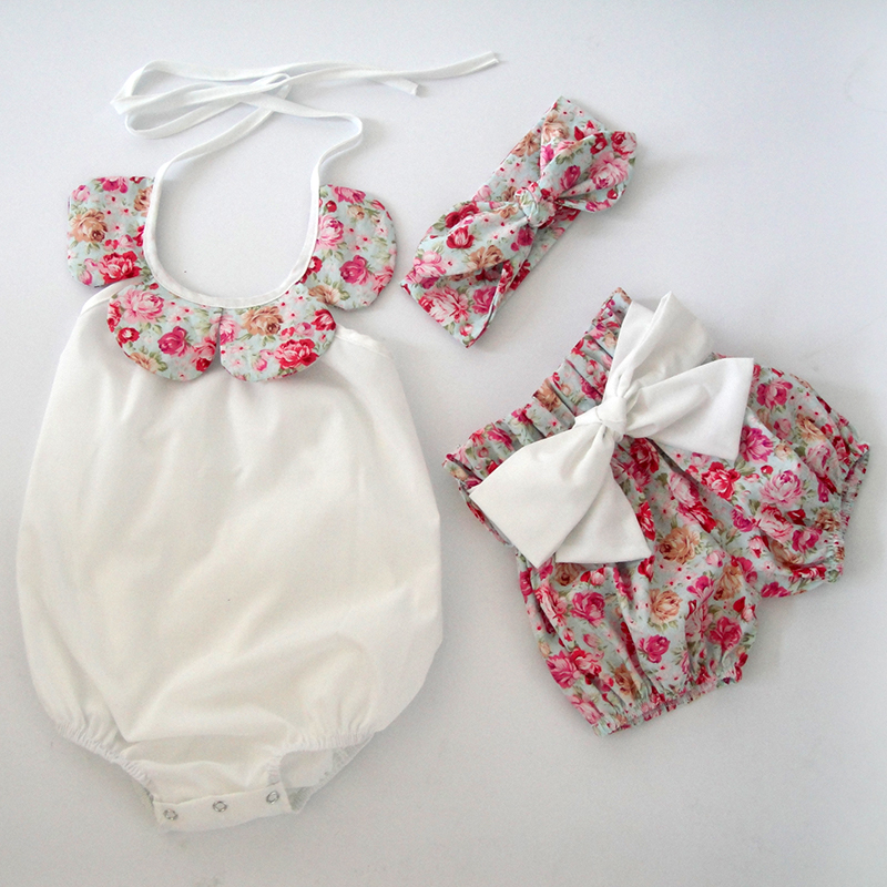 2016 new year baby clothes Newborn summer boutiques Lovely vintage floral ruffle romper cloth with bow knot shorts headband
