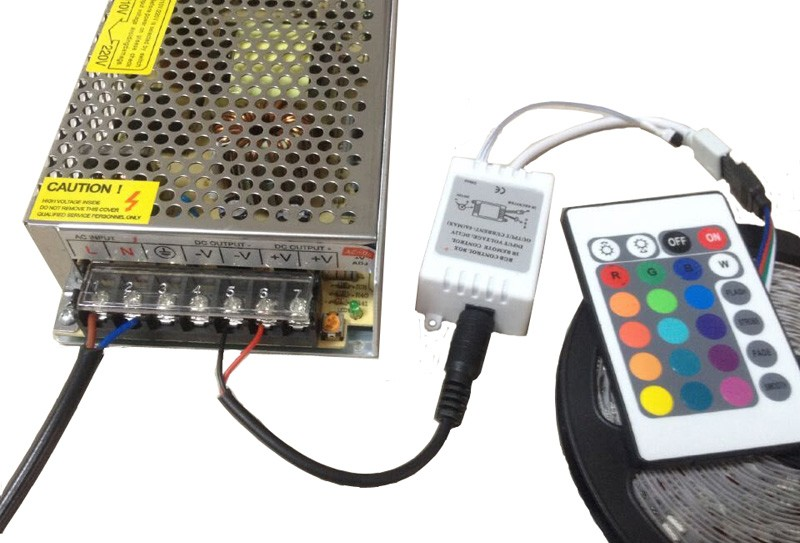 3528 5050 RGB led strip Cold white Warm white blue red green yellow with remote control and power adapter (4)