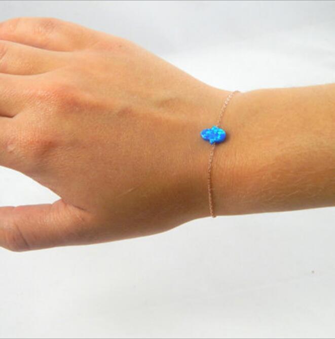 Модный браслет с кристаллами из смолы с голубым опалом, Фатима, браслет на запястье, звеньевая цепочка для женщин, женский простой амулет в м...