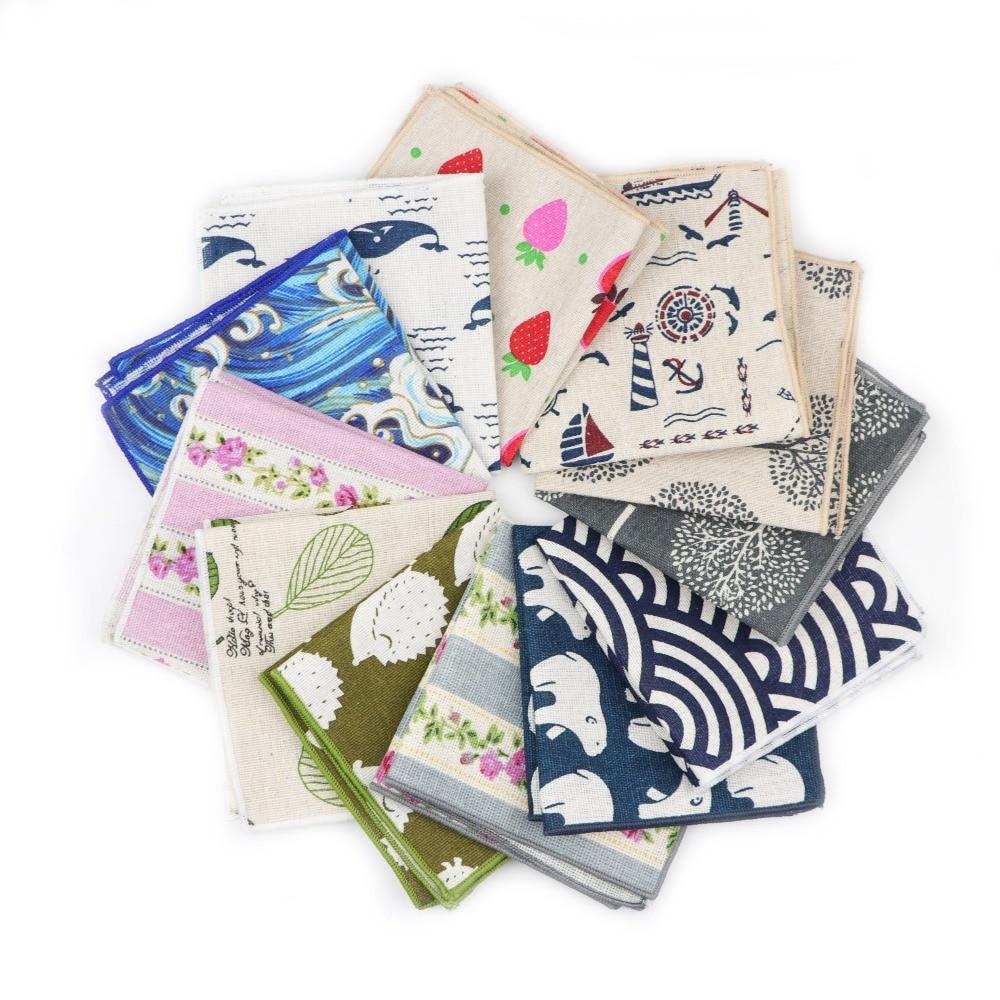 Handkerchief Scarves Vintage Linen Hankies Men's Design Pocket Square Handkerchiefs 22*22cm