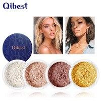 QIBEST пудра для макияжа Выделите рассыпчатая пудра контроль масла компактная матовая отделка фиксирующая пудра Профессиональная Косметика