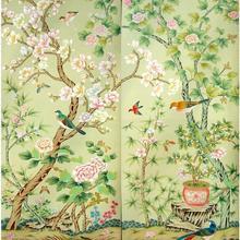 Классический стиль роскошные расписанные вручную Шелковые обои картина с магнолией с птицами обои много искусства и фон на выбор