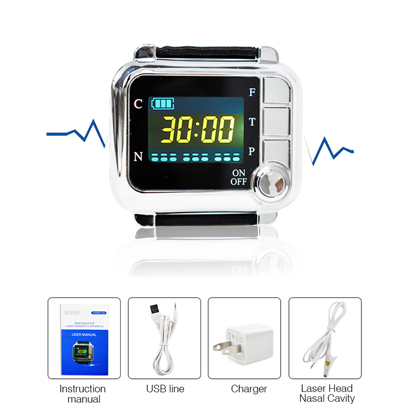 650nm Laser Therapy Wrist Watch High Blood Pressure Diabetes Cholesterol Rhinitis Treatment Cerebral Thrombosis Medical Device laser therapy home wrist type laser watch low frequency high blood pressure high blood sugar diabetes red light laser therapy
