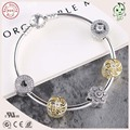 Popular Famous Brand Silver Jewelry Gold Flower Charm Series 925 Sterling Silver bangle