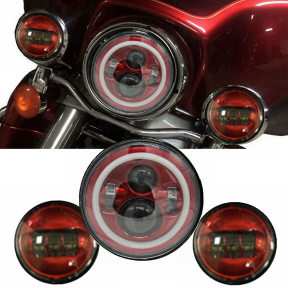 все цены на Red / Orange / Blue Set 7 Inch Harley Daymaker LED Headlight DRL + 4-1/2