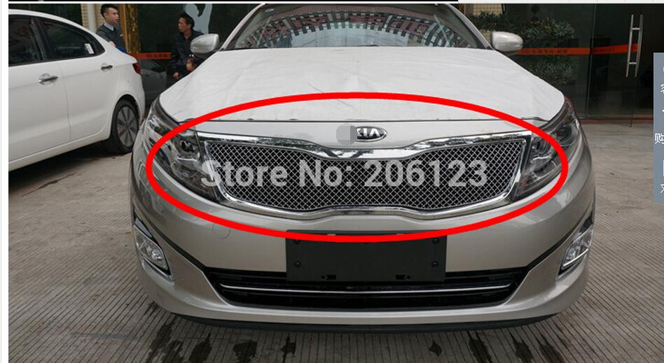 Free Shipping! Front Center Grill Grid Grille Cover Trim Stainless Steel 304  FOR  2014 2015  For Kia Optima  K5  цены онлайн