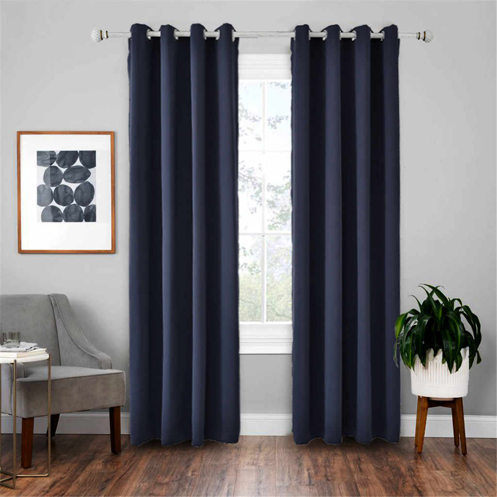 2pc Set High Precision Blackout Insulation Navy Curtain Nordic